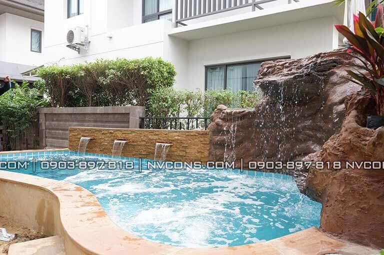Thi công thác nước bể bơi gia đình