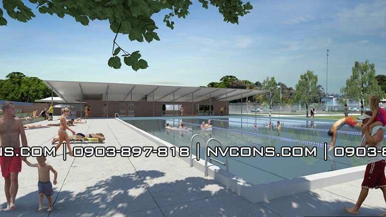 Thiết kế bể bơi kinh doanh có mái che