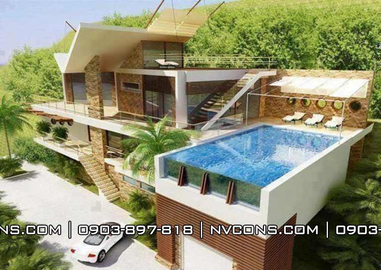 Thiết kế bể bơi sân thượng gia đình
