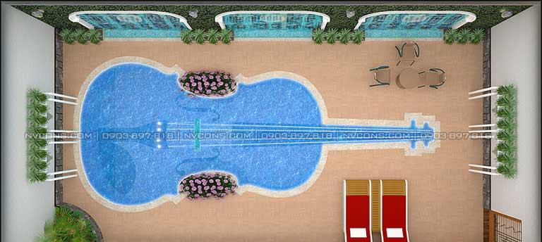 Thiết kế hồ bơi đàn tỳ bà