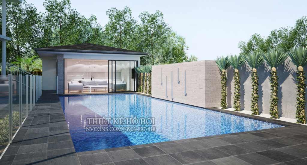 Thiết kế hồ bơi hình chữ nhật phù hợp với cả mô hình gia đình và kinh doanh