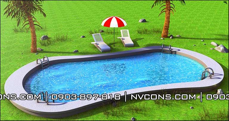 Thiết kế hồ bơi oval sân vườn gia đình đẹp